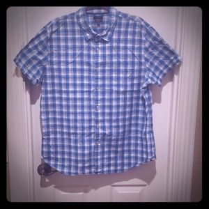 Blue and white button up casual shirt